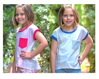 Kids summer T shirt sewing pattern, Sunday T Shirt, girls T shirt pattern sizes 2 to 14 years