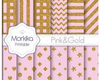 Digital Paper Glitter-Pink&Gold