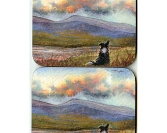 2 x Border Collie Hills landscape coasters