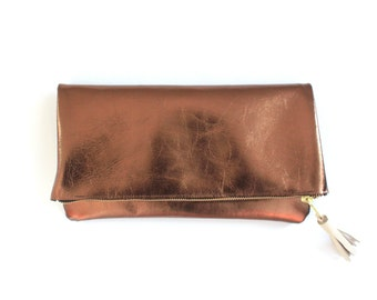leather clutch, folded clutch, bronze clutch, bronze leather clutch, metallic clutch bag, everyday clutch, evening clutch, the 'Kate'