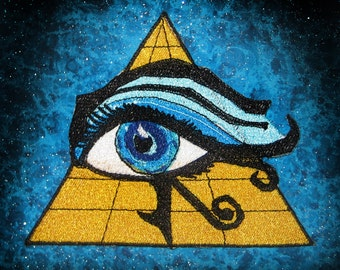 Eye of Ra Iron on Patch 100 percent embroidery Applique  Egyptology Egyptian God All Seeing Eye
