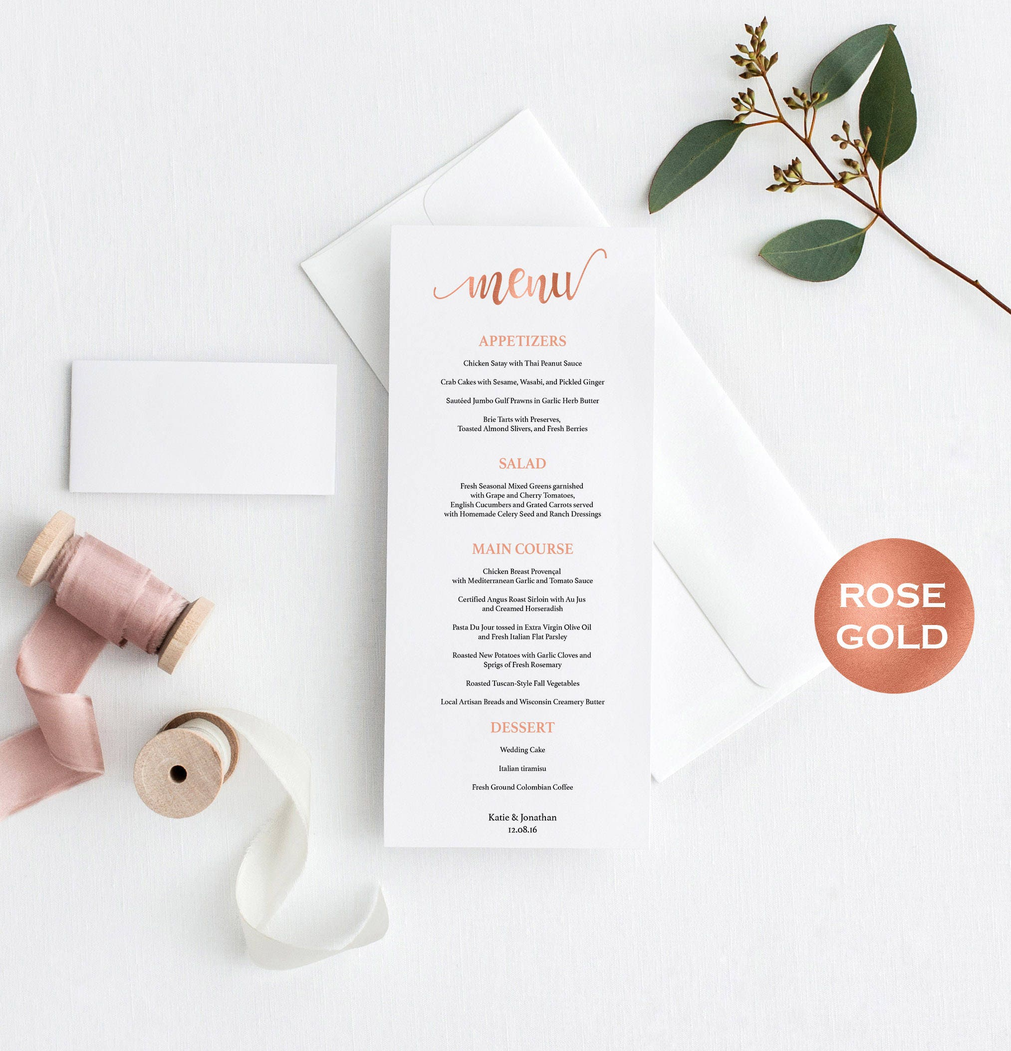 Menu Card Wedding Rose Gold Menu Card Editable menu