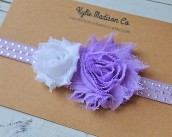 baby headband, lavender and silver shabby headband, purple headband