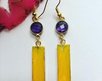 Beautiful yellow chalcedony dangles,gold bar drops,long amethyst drop earrings,purple and Yellow gemstone earrings,fashion earrings,crystals