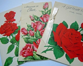 Vintage Pretty Red Roses Floral Flowers Greeting Cards Lot