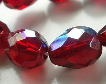 Czech Glass Beads 13 x 10mm Ruby Red Faceted AB Finish Teardrops -  6 Pieces