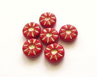 Opaque Red Czech Glass Daisy Coin Beads with Golden Inlay, 12mm - 6 pieces