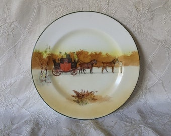 "Royal Doulton Vintage Coaching Days 7"" Dessert or Pie Plate"