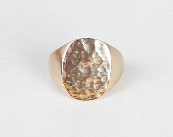 THAIS RING - Gold plated hammered ringlet