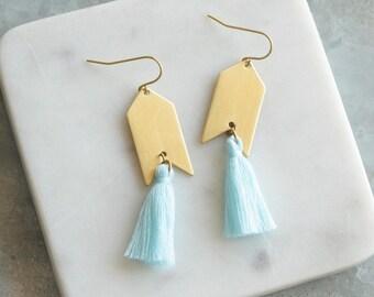 Tassel Earrings Aqua Tassel Earrings, Long Earrings, Arrow Earrings, Aqua and Gold Earrings
