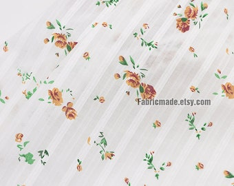 Floral Cotton Fabric, Jacquard Stripes Little Brown Rose Flower Green Leaves on White Cotton- 1/2 Yard