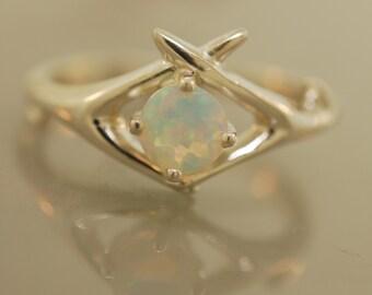 Criss Cross Antler ring,alternative wedding ring, engagement ring, unique engagement ring, opal ring,