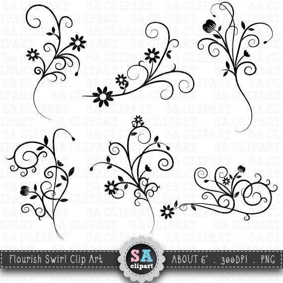 "Digital Stamp Design Flourish Rose Border Corner Clip Art: Flower Flourish Swirl Clipart ""FLOWER FLOURISH SWIRL"" Clip"