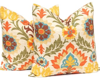 Decorative Throw Pillow Cover - Santa Maria Adobe - Floral Pillow covers - Orange Pillow Covers - Heavy Weight Designer Fabric