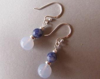 Lavender Quartz Earrings, Denim Lapis Earrings, 925 Silver, Drop Earrings, Dangle Earrings
