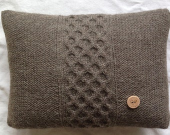 Hand Knit Tradition Wool Pillow with Honeycomb Cable