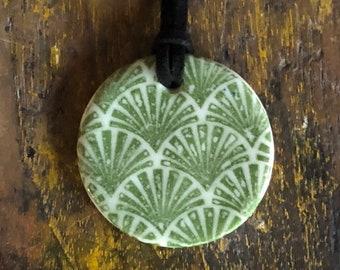 Porcelain circle pendant - green fan