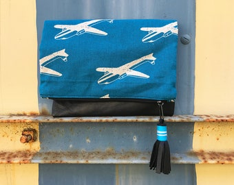 Small Fold Over Clutch - Blue Airplane
