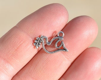 10  Peace Dove Silver Tone Charms SC1422