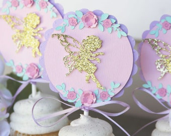 fairy cupcake toppers, fairy cupcake picks, fairy cupcake decoration, fairy cupcake decor, garden party cupcake decor, garden party decor