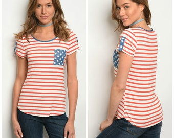 Stars & Stripes Patriotic Pocket Tee • Perfect for Memorial Day or July 4th
