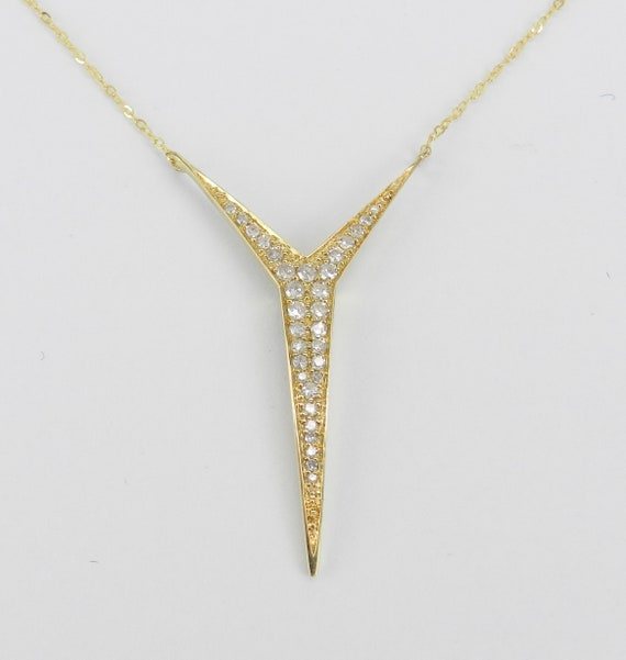 "14K Yellow Gold Unique Diamond Necklace Wedding Gift Pendant Chain 17"" Modern Design"