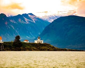 Lighthouse in Alaska at sunset