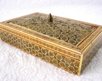 Sadeli Micro Mosaic Jewelry Box 1900 Edwardian Era Ruched Velvet Persian Anglo Indian Mixed Metals