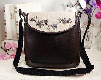 Embroidered Bag, Messenger Bag, Brown Vegan Leather Crossbody Bag, Satchel Bag, Crossbody Bag, Designer Bag, Vegan Purse