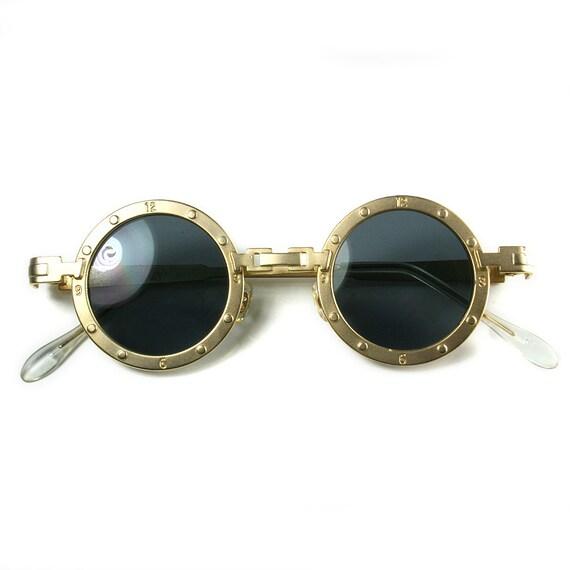 reloj inusual de oro redonda metálica de gafas de sol gafas de