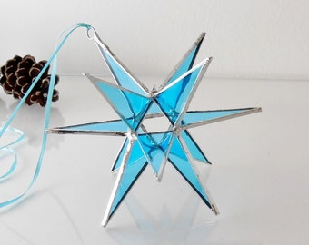 12 Point Moravian Star. Light Blue Star. Stained Glass Star. 6""