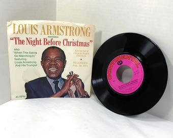 Louis Armstrong narrates The Night Before Christmas vinyl record 1971 Exclusive Collector's Edition 45 rpm VG/VG+