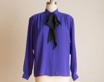 Vintage Evan Picone Purple & Black NeckTie Blouse