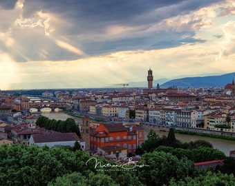 Florence Italy Panoramic Sunset with Sun Rays