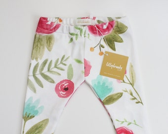 Pink Spring Floral Leggings / Baby Leggings/ Pink Baby Leggings/ Chic Baby/  Floral Baby Leggings