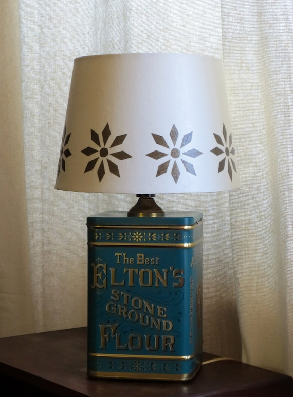 Elton & Co litho tin table lamp with decoupage stencil-look shade - Free shipping