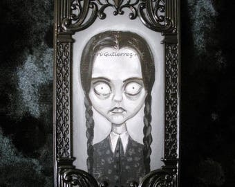 "Addams Family ""Wednesday"" Original Painting by Lori Gutierrez!  OOAK Art!"