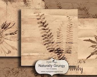 digital paper pack scrapbook paper 12 x 12 digital collage sheet printable nature image grungy instant download
