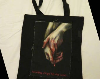 Macbeth Print Tote Bag (Black) Something Wicked This Way Comes, Shakespeare Quote