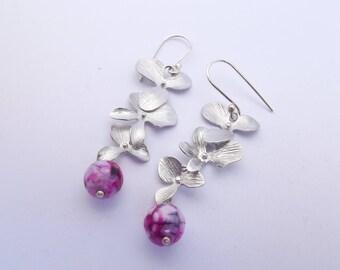Chloey * flowers pink gemstones earrings