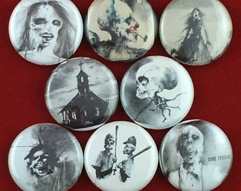 """8 Brand New 1"""" """"Scary Stories"""" Button Set"""
