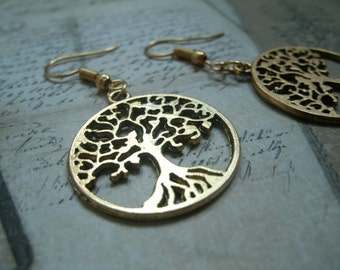 Necklace - Keychain - Earrings in gold metal - circle tree