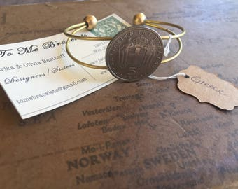 GREECE!! Open Cuff Bangle with a Salvaged Vintage Coin, Jewelry grade brass, handmade