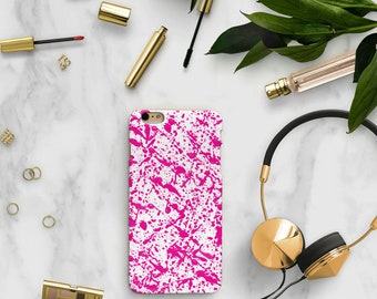 pink paint splatter iPhone case, pink Samsung s9 case, paint iPhone x case, paint splatter iPhone x case, iPhone 8 plus case, iPhone 7 plus