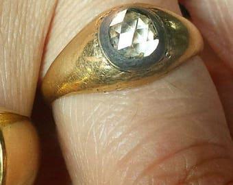 Early 1800s Georgian Rosecut Diamond Colette Set Ring 18k Gold
