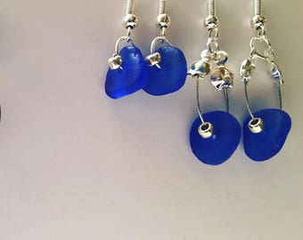 Cobalt Blue Seaglass Handmade in the Cotswolds Earrings