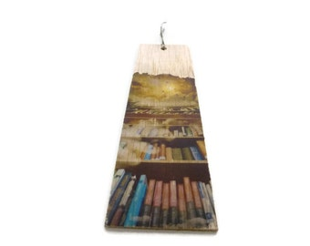 Wooden bookmark - Wood bookmark - library - Sky bookmark - Unique bookmark - Bookshelf bookmark - Handmade bookmark - Book lover gift - Book