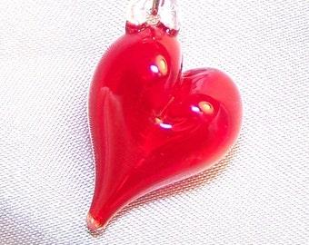 Handmade Lampwork Glass Bead Hollow Bubble Heart by Cara