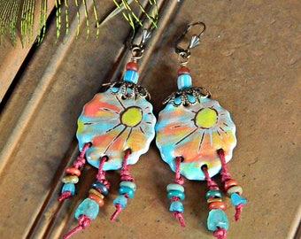 Sonnenschein Ohrringe böhmische Keramik Boho Aussage Ohrringe Blau Orange Handwerker, geknotet Keramik Anhänger Ohrringe Hippie-Chic