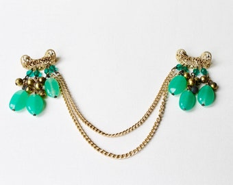 Vintage sweater double chain bead brooch. Double brooch. Collar brooch. Double filigree gold tone crescent brooch with green and gold beads.
